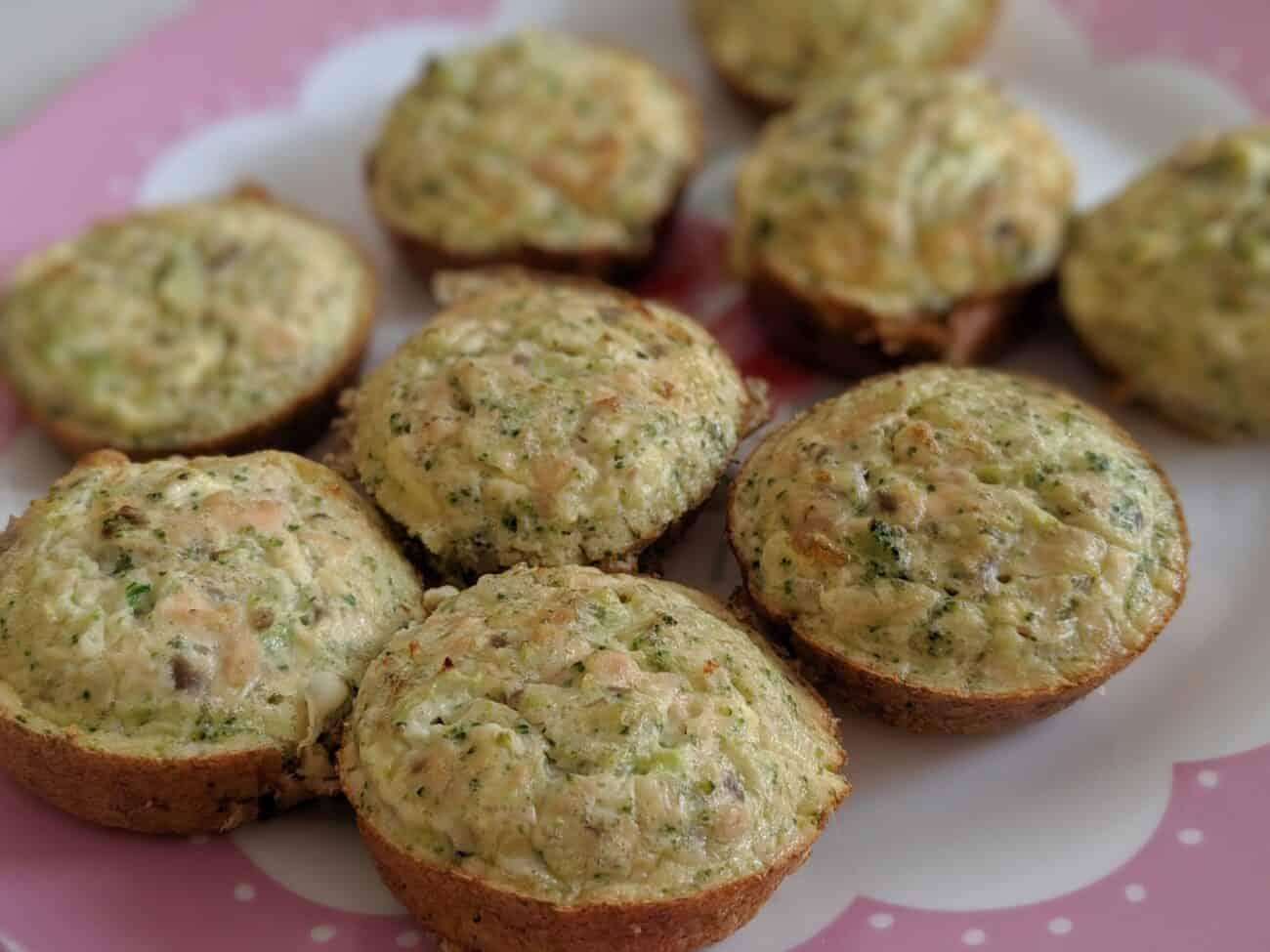 Broccoli and Salmon Crustless Quiches